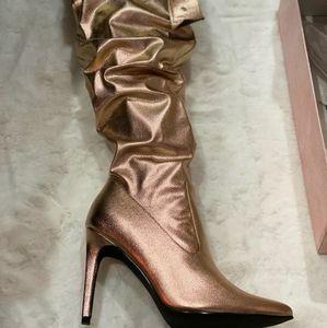 Metallic Rose Gold Thigh High Cape Robbin Boots